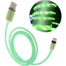 Кабель USB - Lightning (для iPhone) светящийся (зеленый)