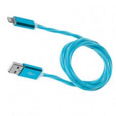 Кабель USB - Lightning (для iPhone) светящийся (синий)