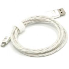 Кабель USB - Lightning (для iPhone) светящийся (белый)